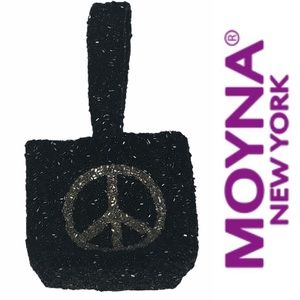 Moyna Mini Black Beaded Peace Bag Rare